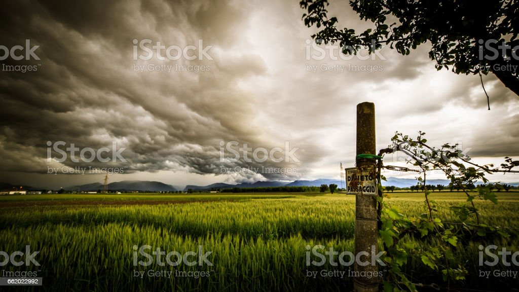 storm over the fields royalty-free stock photo
