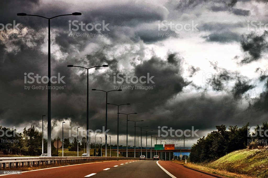 Storm over the highway stock photo