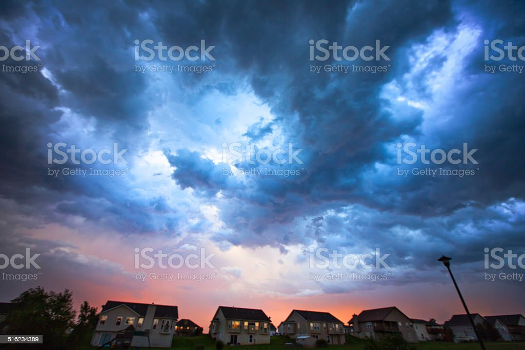 Storm Over the Neighborhood stock photo