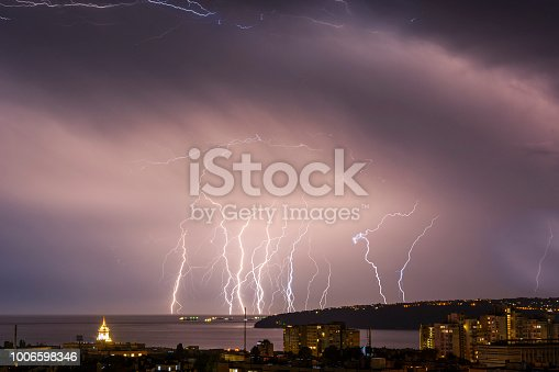 istock Storm over Varna, Bulgaria, with lightnings and flashes. 1006598346