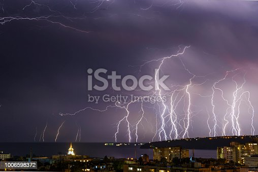 istock Storm over Varna, Bulgaria, with lightnings and flashes. 1006598372