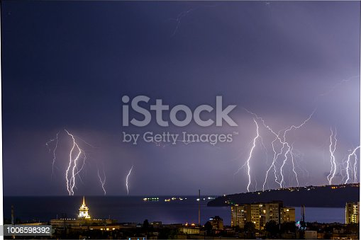 istock Storm over Varna, Bulgaria, with lightnings and flashes. 1006598392