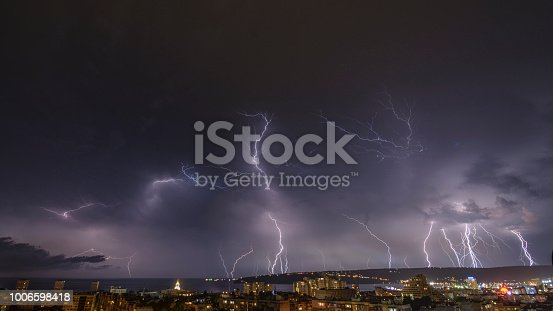 istock Storm over Varna, Bulgaria, with lightnings and flashes. 1006598418
