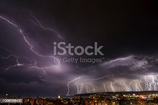 istock Storm over Varna, Bulgaria, with lightnings and flashes. 1006598432