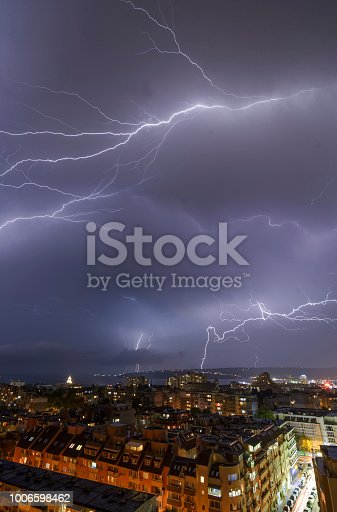 istock Storm over Varna, Bulgaria, with lightnings and flashes. 1006598462