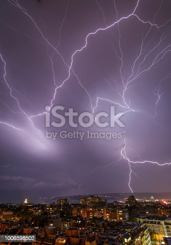 istock Storm over Varna, Bulgaria, with lightnings and flashes. 1006598502