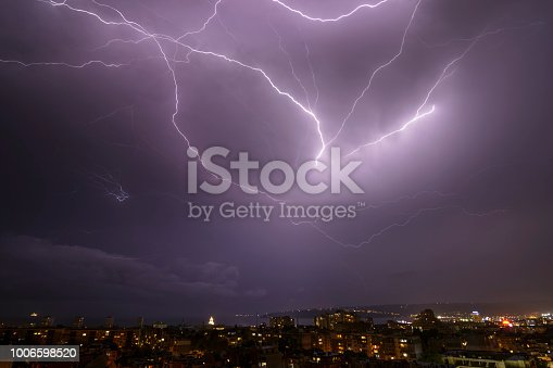 istock Storm over Varna, Bulgaria, with lightnings and flashes. 1006598520