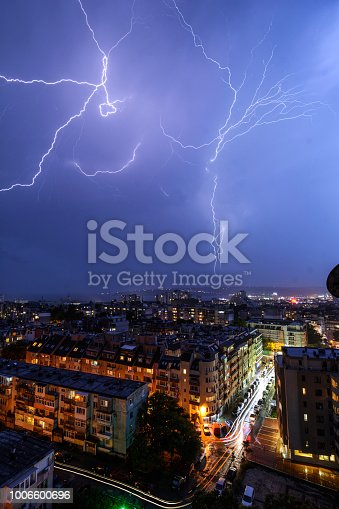 istock Storm over Varna, Bulgaria, with lightnings and flashes. 1006600696