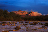 Last light of sunset hits the cliffs of Zion National Park in southern Utah.