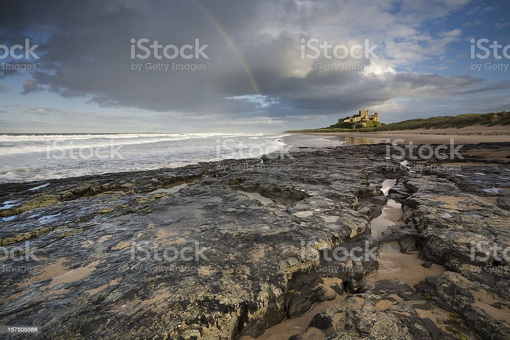 Storm Passes Over Bamburgh Castle stock photo