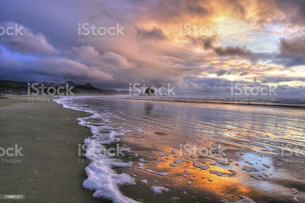 storm passing over haystack rock royalty-free stock photo