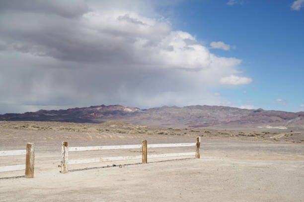 A storm rolls in over Fish Lake Valley in Nevada stock photo