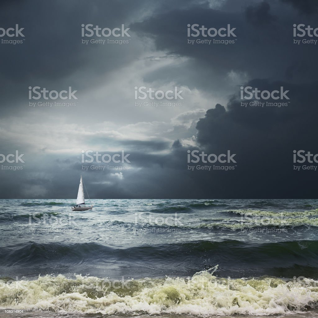 Storm sea landscape with white ship stock photo