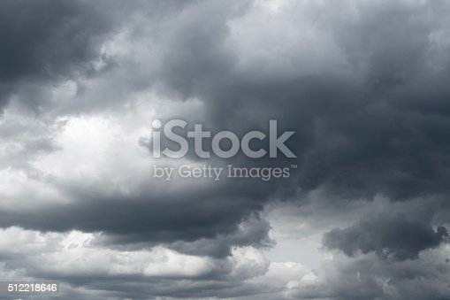 Thunderclouds over horizon, dark, gray.