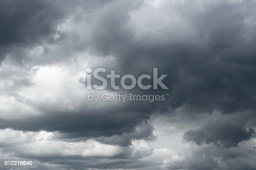 Thunderclouds over horizon, dark, gray.