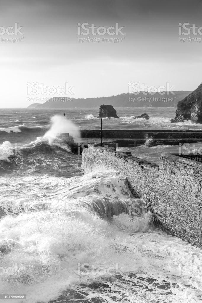 Storm Surge, Charlestown Harbour, Cornwall stock photo