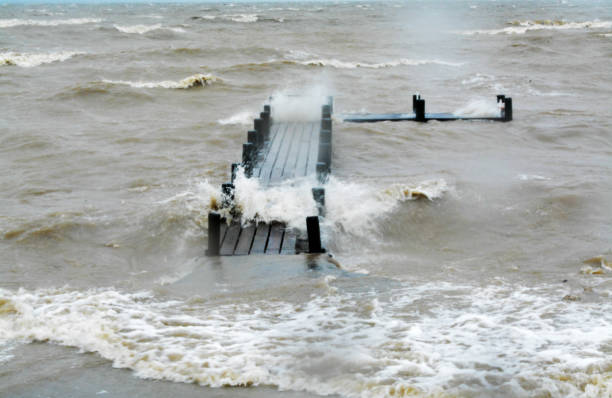 storm surge of the ocean from hurricane harvey - deign stock pictures, royalty-free photos & images