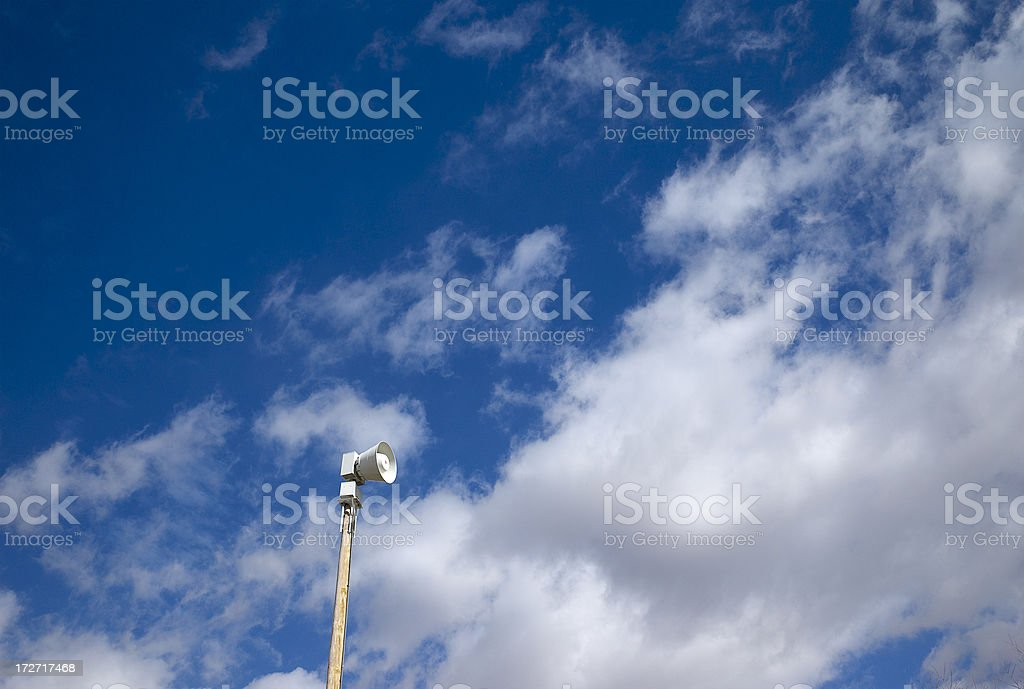 Storm warning siren stock photo