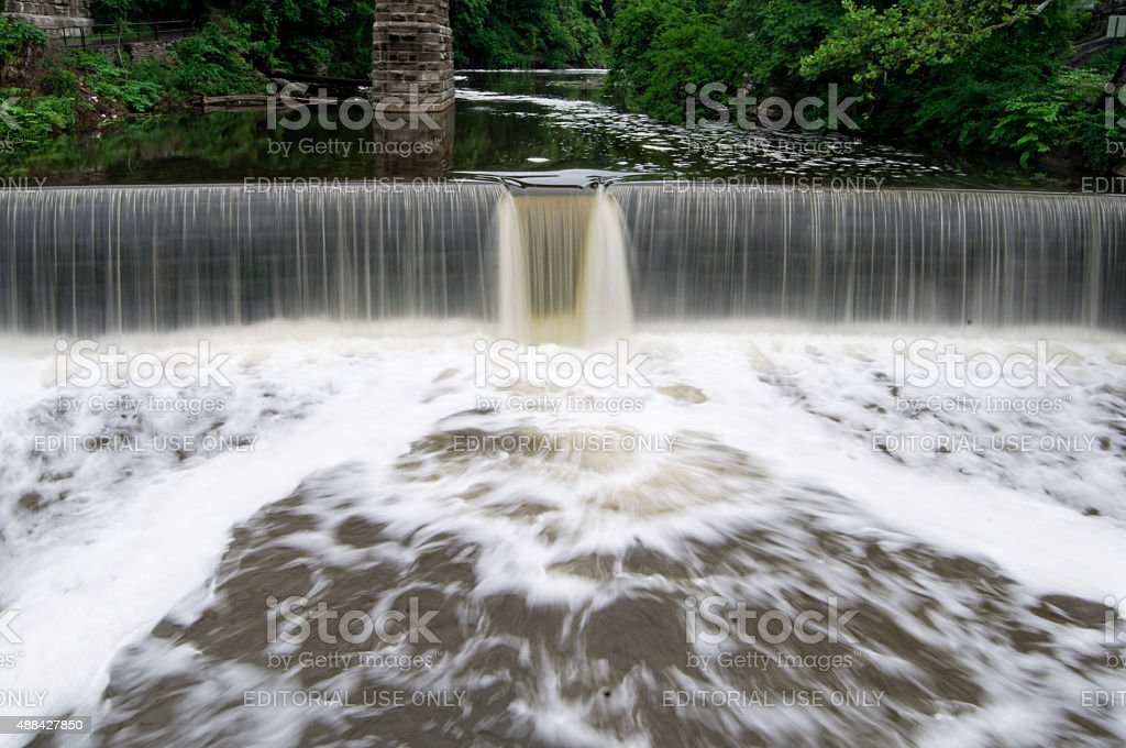 Storm Water Flows in Wissahickon Creek stock photo