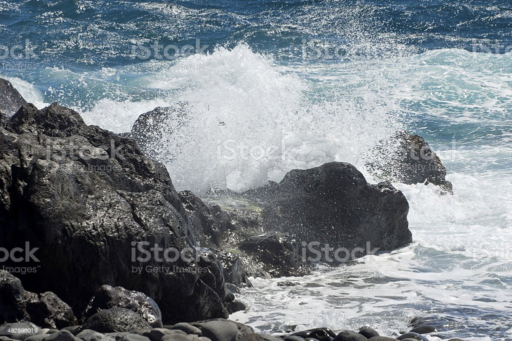 Storm, Waves and sea foam stock photo