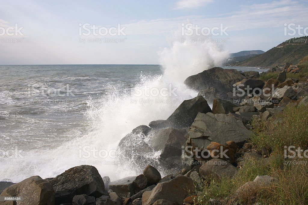 Storm waves spray royalty-free stock photo