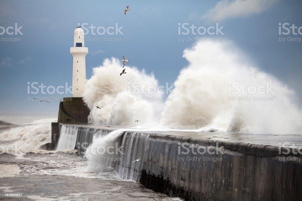 Storm waves striking the Aberdeen harbour breakwater, Scotland stock photo