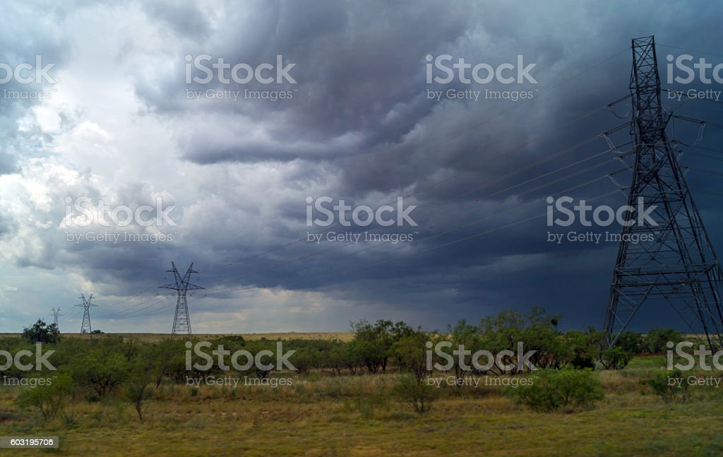 storm weather landscape Texas power lines stock photo