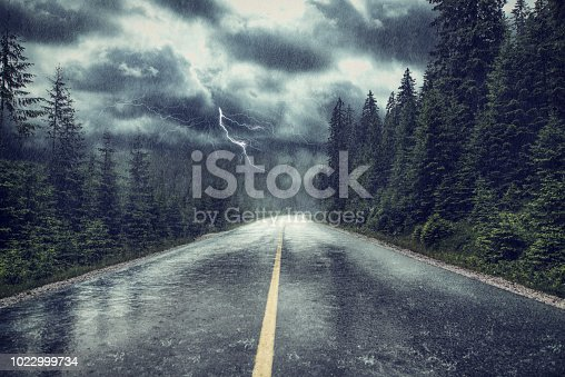 Storm with rain and lightning on the street