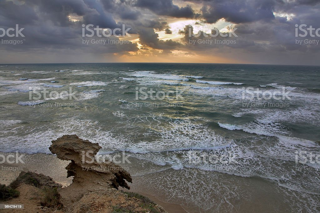 Storming sunset above the sea royalty-free stock photo