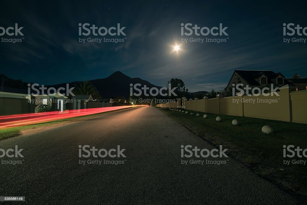 Storms River village at night. Eastern Cape. South Africa. stock photo