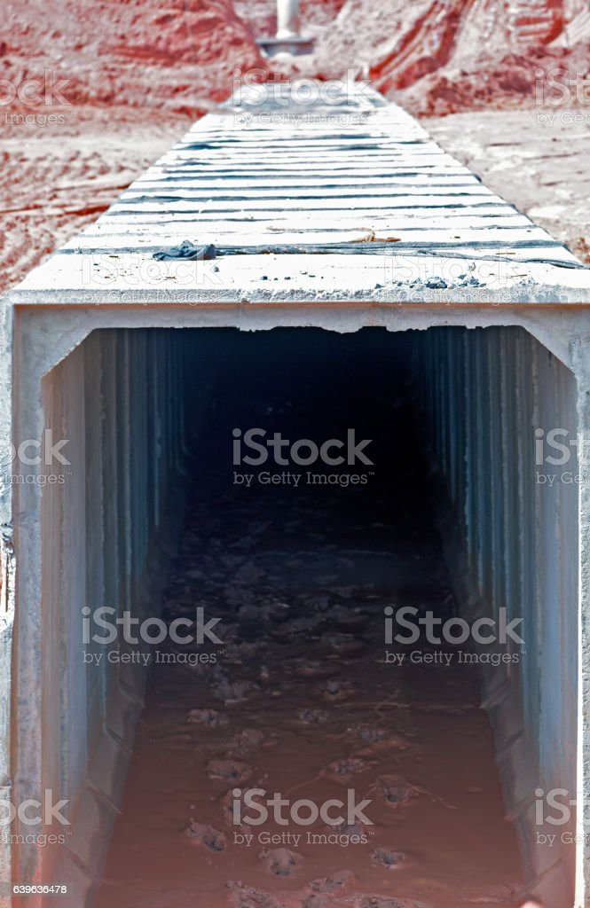 Stormwater drain canal under construction stock photo
