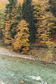 Clear river in mountains. Beautiful autumn landscape in mountains. Nature reserve in mountains. Mountainous area Russia. Beautiful landscape. Concept is ecology of planet.