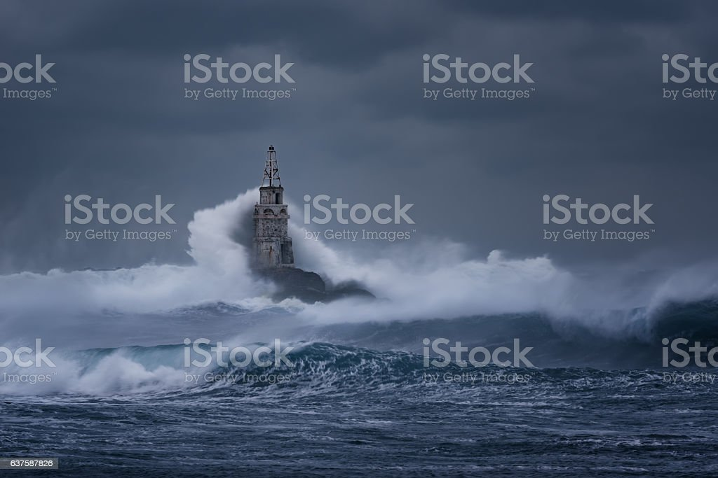 Stormy cloudy day at the Lighthouse, Ahtopol, Bulgaria stock photo