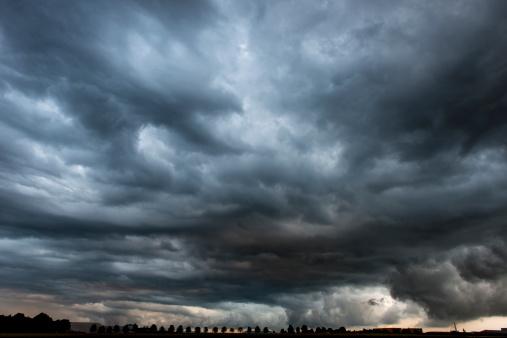istock Stormy cloudy sky dramatic dangerous dark gray cloudscape 175492644