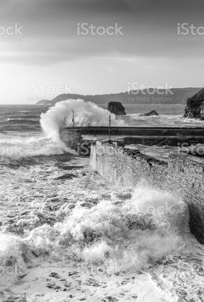 Stormy Day, Charlestown Harbour, Cornwall stock photo