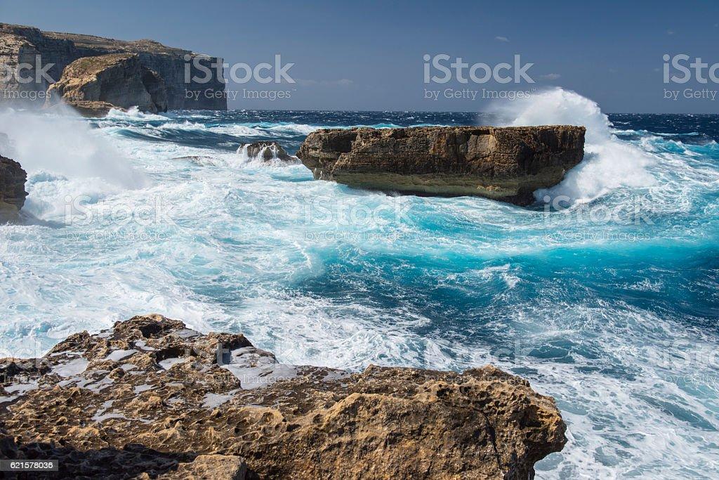 Stormy day Dwejra Gozo, Malta photo libre de droits