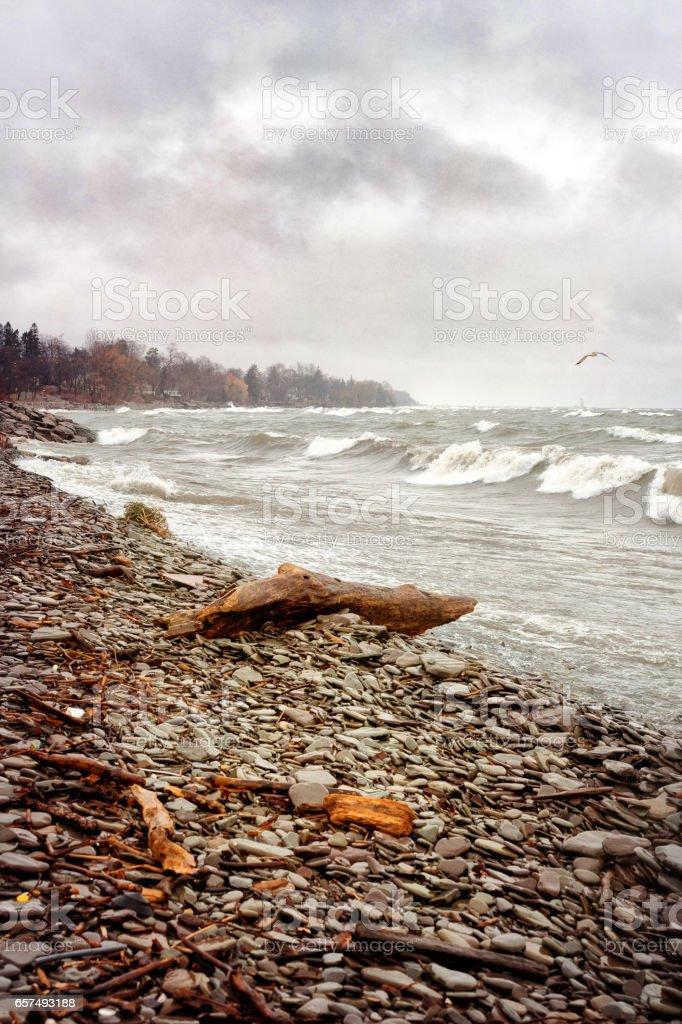 Stormy day on Lake Ontario stock photo