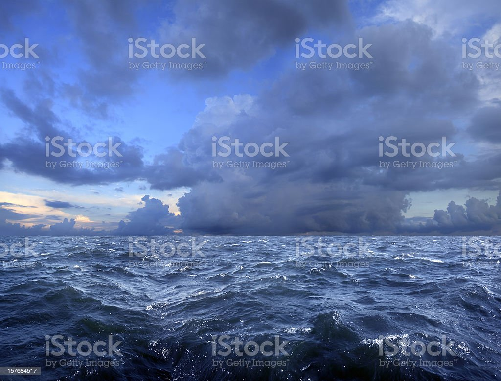 stormy day on sea stock photo