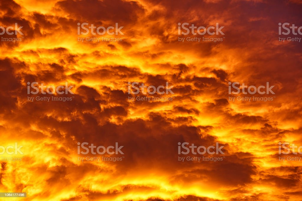 dramatic sky in the twilight, colors like fire.nature background.