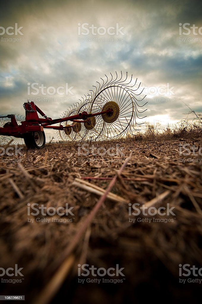 Stormy Farm Equipment stock photo