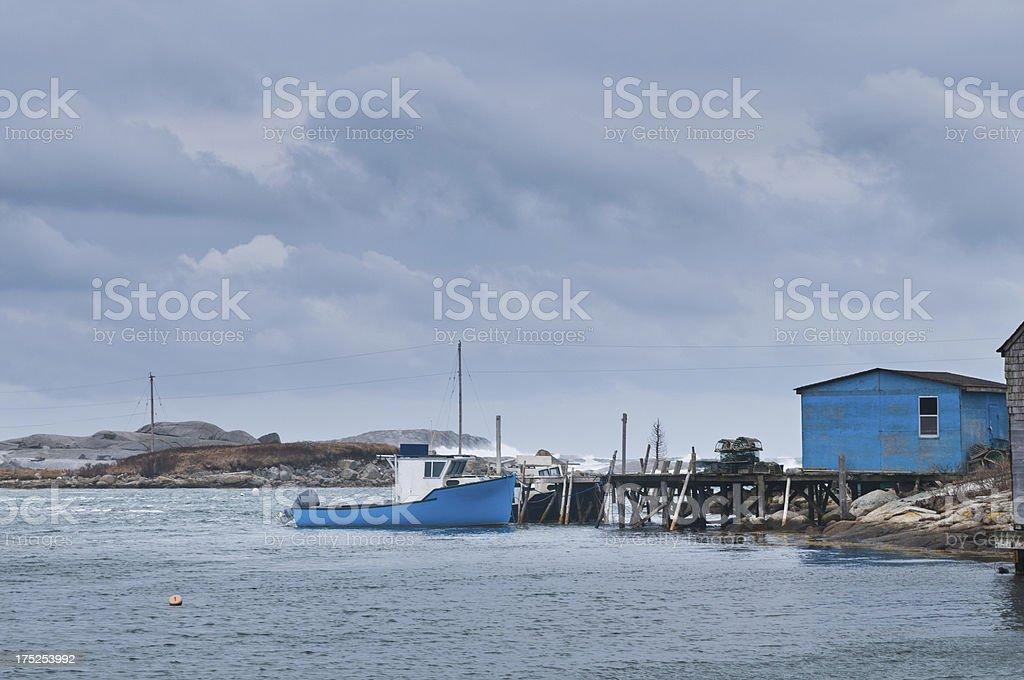 Stormy fishing village royalty-free stock photo