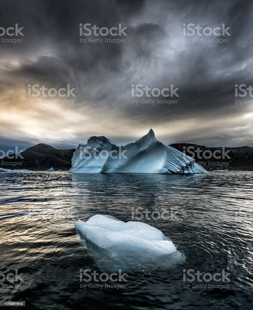 Stormy Floating Bergy Bit Greenland Uunartoq stock photo