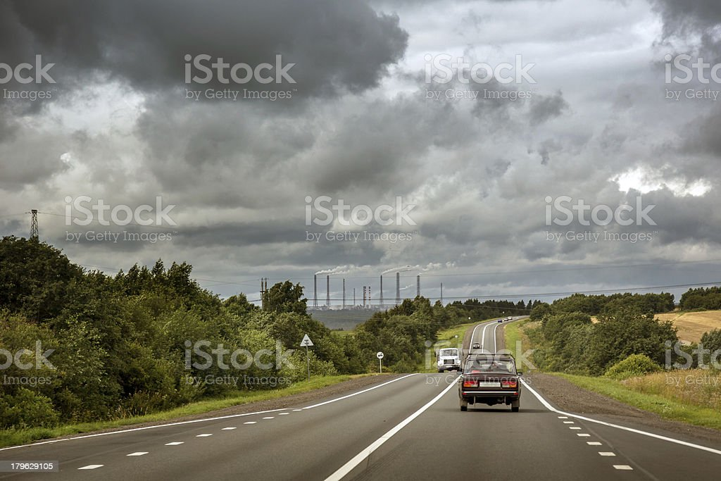 Stormy highway royalty-free stock photo