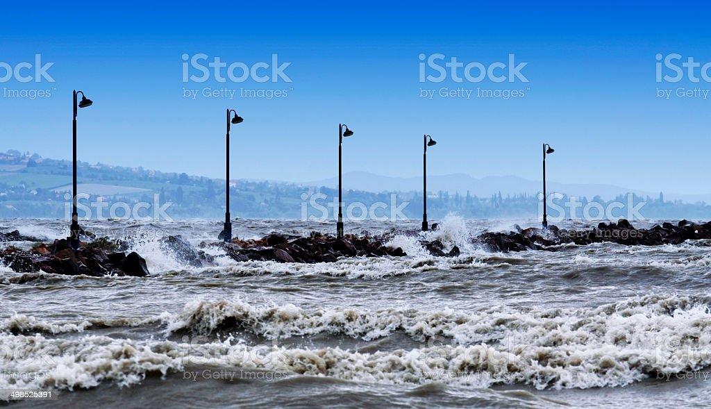 Stormy Lake Balaton, Hungary stock photo