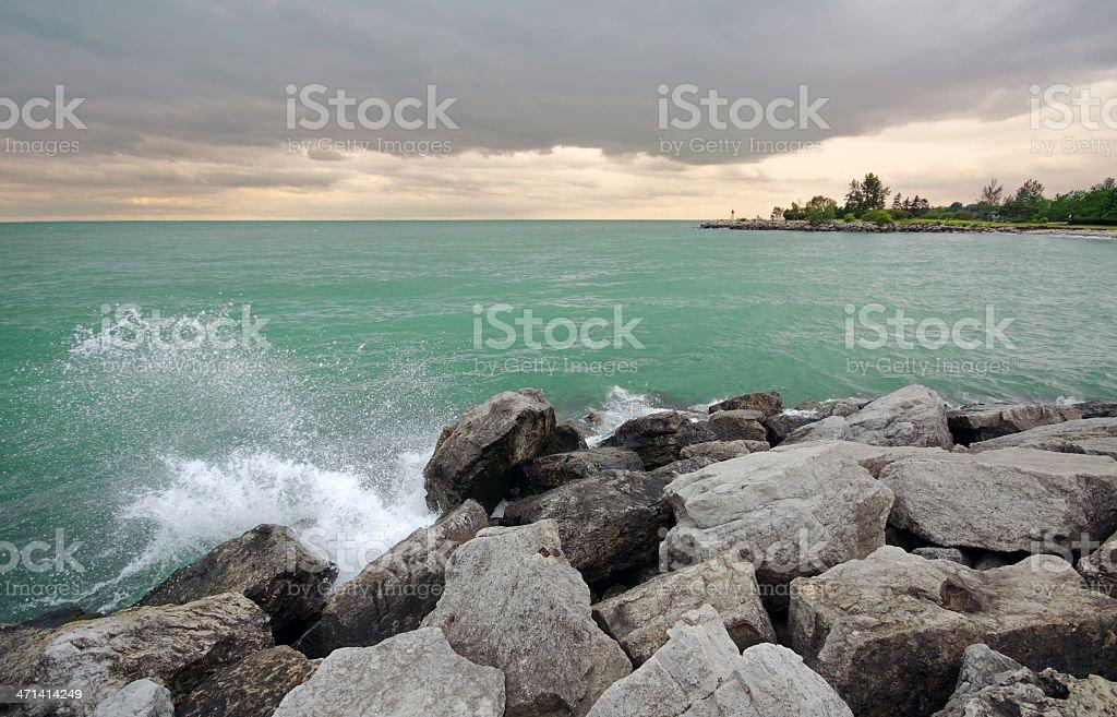 Stormy Lake Ontario stock photo