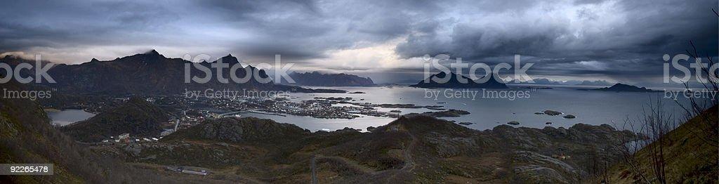 Stormy Lofoten Panarama, Norway royalty-free stock photo