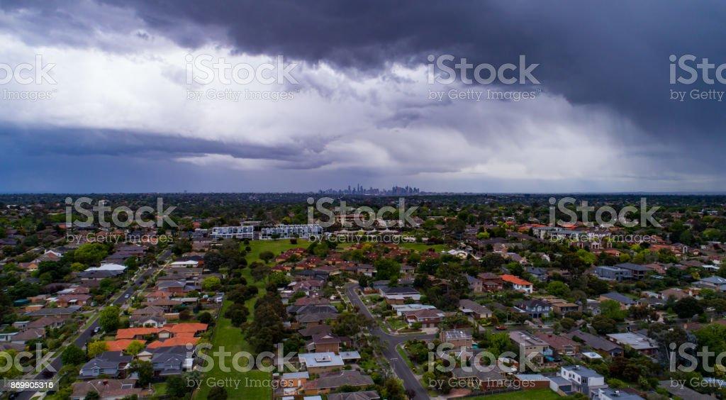 Stormy Melbourne sky stock photo