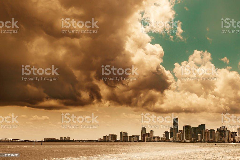 Stormy Miami Skyline stock photo