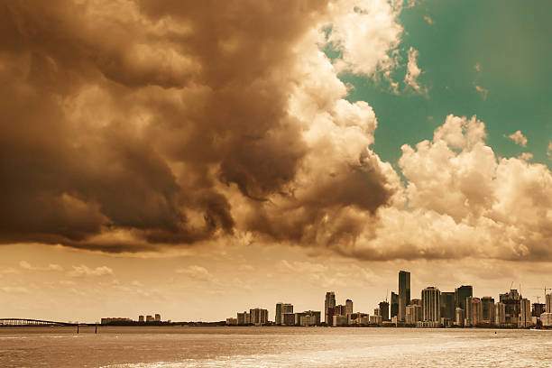 Stormy Miami Skyline stock photo