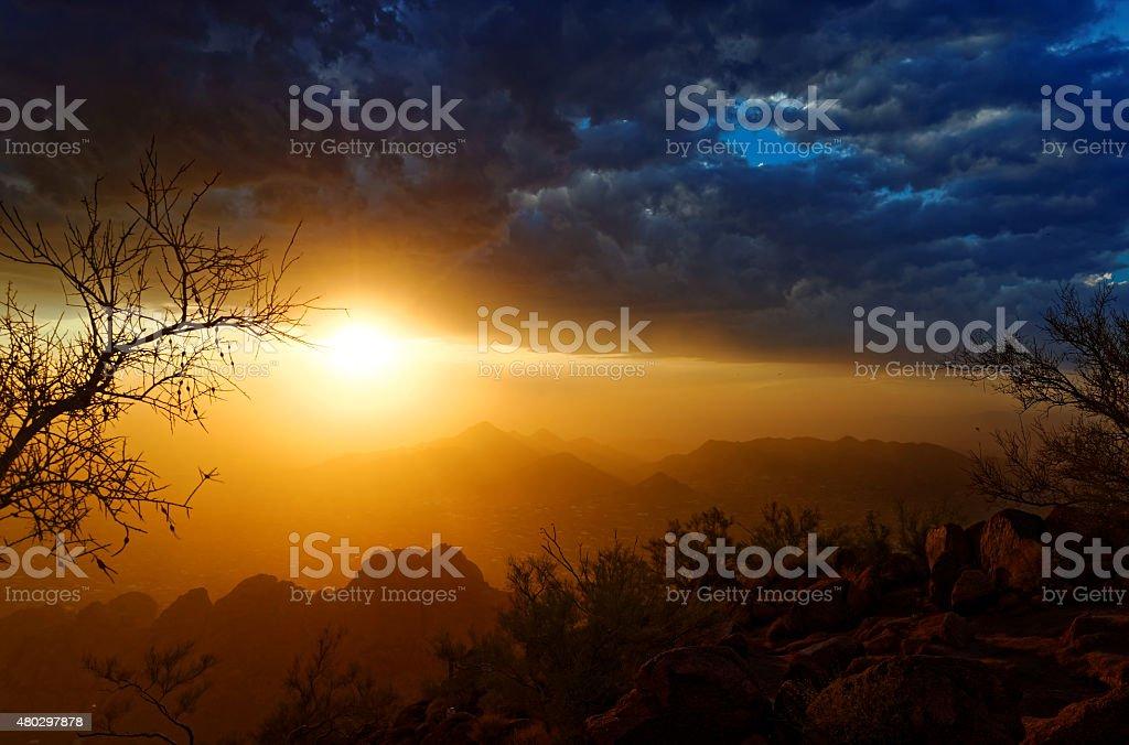 Stormy Mountaintop Sunset stock photo